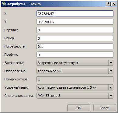 Форма NextGIS редактирования атрибутов точки ЗУ