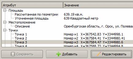 Фрагмент окна атрибутов ЗУ со списком точек
